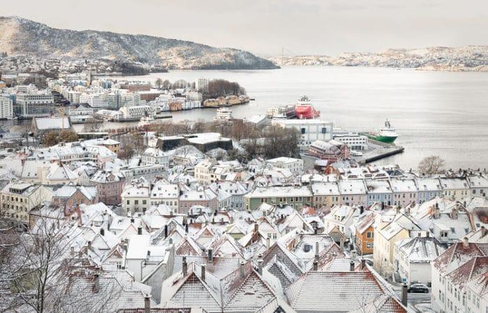 Fantástica panorámica de Bergen, Noruega