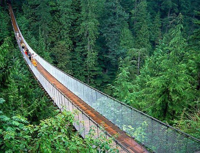 Se puede ver la estructura y altura del Puente Colgante de Capilano ubicado en Vancouver