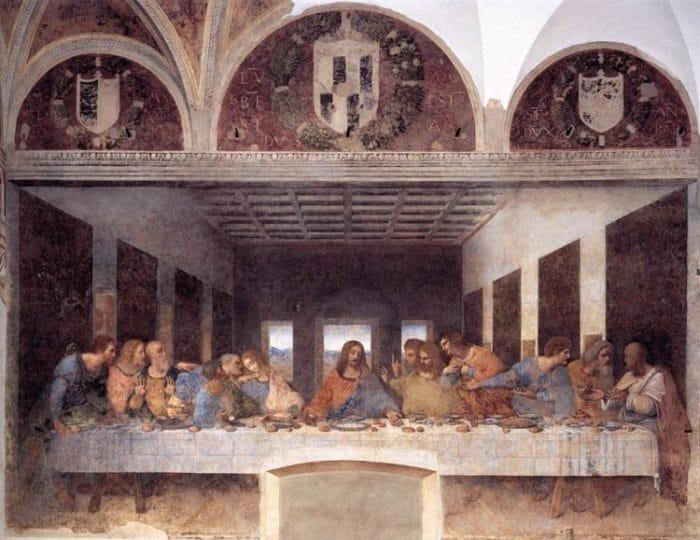 """Imagen del fresco de Leonardo Da Vinci """"La Última Cena"""" en el Convento de Santa maría delle Grazie"""