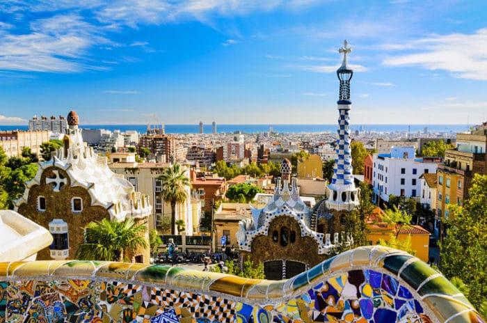Hermosa imagen del Parque Güell del gran Gaaudí en Barcelona