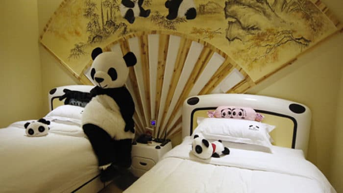 Habitación del Hotel Temático de Pandas en China