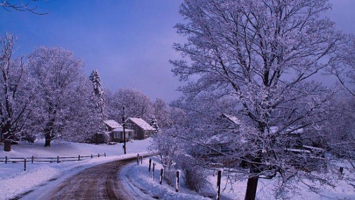 Hermosa escena de Vermont en invierno