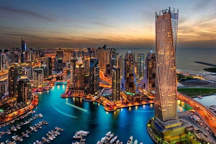 Vista aérea de la Marina de Dubai