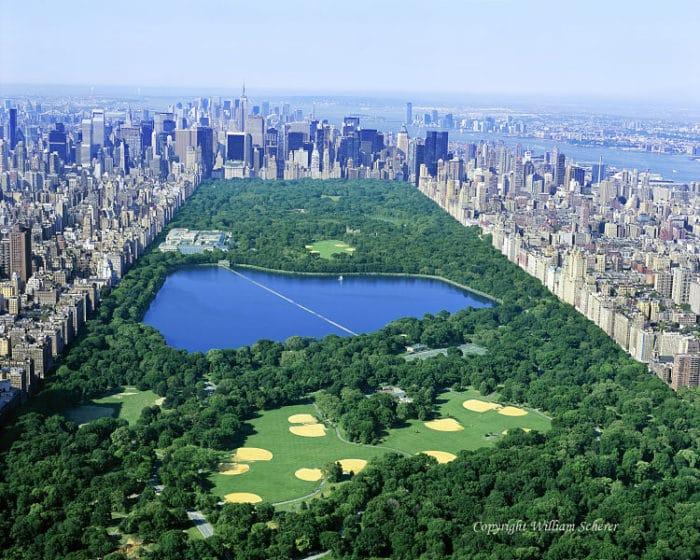 Imagen aérea de la extensión de Central Park en el centro de Manhattan