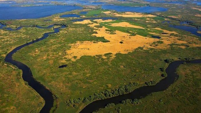 Vista aérea del Delta del Danubio en Rumania