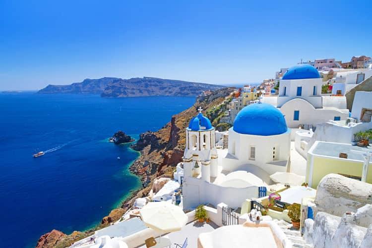 Hermosa vista de Santorini