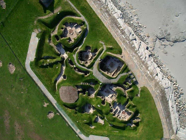 Vista aérea de la ciudad de Skara Brae