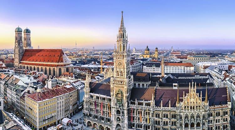 Vista del centro de la ciudad de Munich