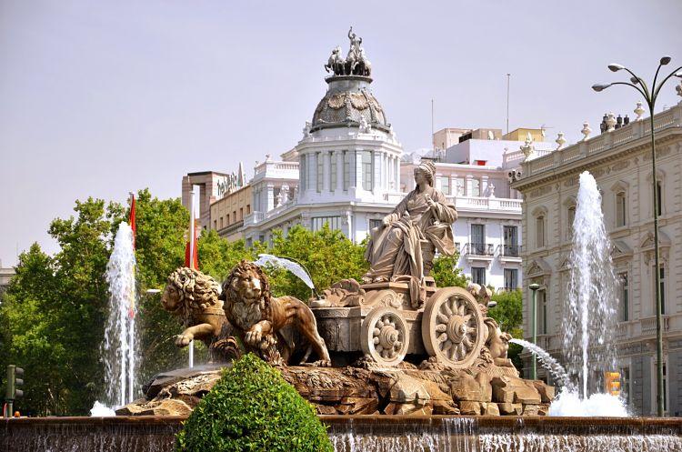 Detalle de la escultura de Cibeles en la Plaza del mismo nombre