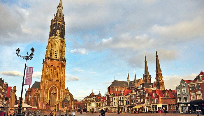 Ciudad de Delft en invierno